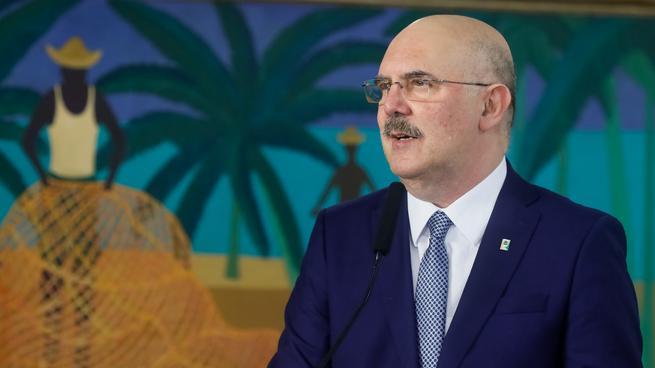 O ministro da Educação, Milton Ribeiro, durante sua cerimônia de posse em Brasília